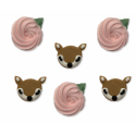 AH -  Icing Decorations Deer & flowers, 6 pieces