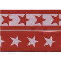 Melifil - Bande élastique étoiles rouge/blanc, 40 mm large