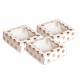 AH - Petites boîtes carrées à pois en rose doré avec fenêtre, 3 pièces