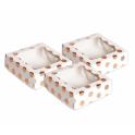 AH - Klein Schachtel mit Fenster rose gold polka, 3 Stück