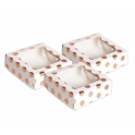 AH - treat boxes with window rose gold polka, 3 pieces
