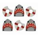 AH - Décoration en sucre requin et bouée de sauvetage, 5 pièces
