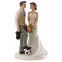"Figurine mariés ""Foot"", 15 cm"