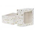 AH - Petites boîtes carrées à étoiles dorées avec fenêtre, 3 pièces
