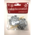 AH - Small toppers silver flakes, 12 pieces