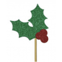 AH - Small toppers Holly red and green, 12 pieces