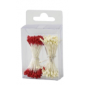Decora - White and red pearl pistils, 288 pieces