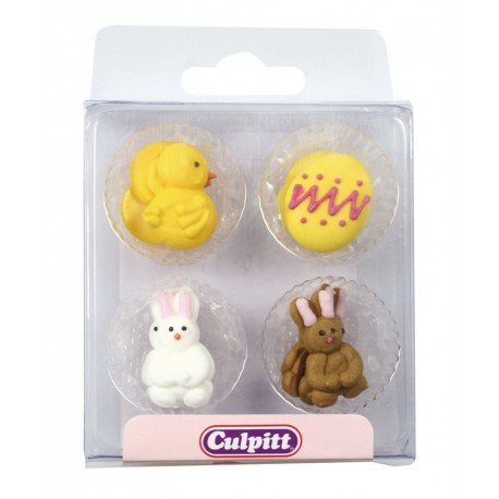 Culpitt  Chick, Egg and Rabbit Sugar Pipings. 12 pieces