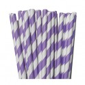 Paper Straw violet and white stripes, 24 pieces