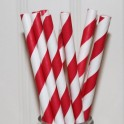 Paper Straw red and white stripes, 24 pieces