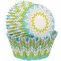 Chevron lime cupcake baking cups, 75 pieces