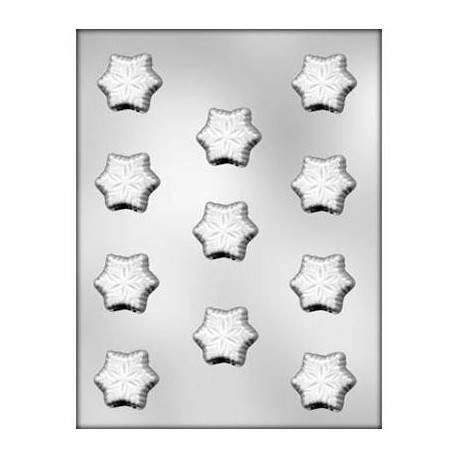 CK - Plastic mold for chocolat snowflakes, 11 cavities