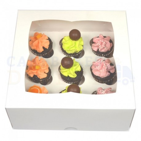 Cupcakes Box white, mini cupcakes, 9-cavity with inserts