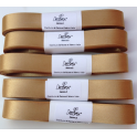 Decora - Golden double satin ribbon, 15 mm width, 5 m. long