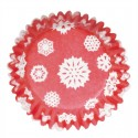 Snowflake & Christmas Red Baking Cases - 54 per pack
