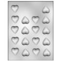 CK - Moule en plastique rigide pour chocolat coeurs (petits), 18 cavités