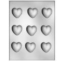 CK - Form für mittel Schokoladenherze, Hartplastik, 9 Vertiefungen