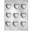 CK - Plastic mold for chocolat medium hearts, 9 cavities