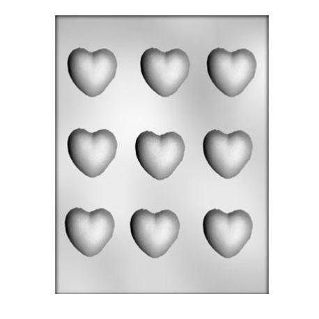 CK - Moule en plastique rigide pour chocolat coeurs (moyen), 9 cavités