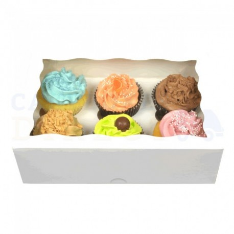 Boîte à cupcakes blanche, pour 6 pièces avec séparateur