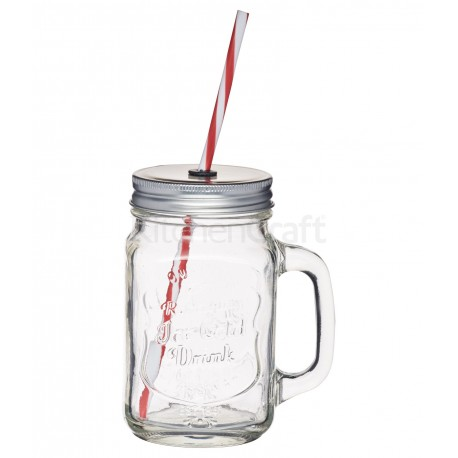 Glass Drinks Jar with Straw, 1 piece, 450 ml