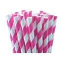 Paper Straw fuchsia and white stripes. 19.7 cm
