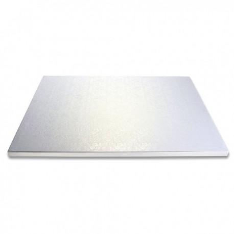 Planche argentée carrée, 20x20 cm, épaisseur 1.2 cm