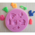 Silicone Baby shower mold, 6 cavities