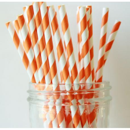 Paper Straw orange and white diagonal stripes, 24 pieces