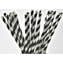 Paper Straw black and white diagonal stripes. 19.7 cm