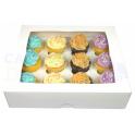 Boîte à cupcakes blanche, pour 12 pièces avec séparateur