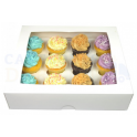 Cupcake Box white, Standard, 12-cavity with inserts.