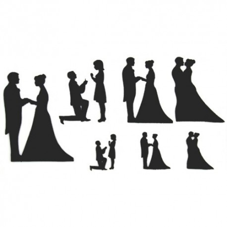 Patchwork Wedding silhouettes, set of 9