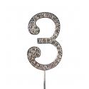 "Number 3 ""diamante"", 45 mm high"