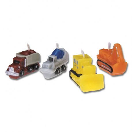 Construction vehicles candles, set of 4
