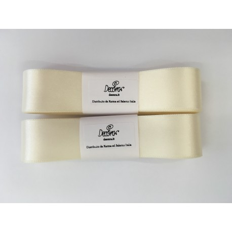 Decora - Ivory double satin ribbon, 25 mm width, 3 m. long