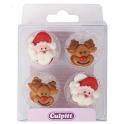 Culpitt Icing Decorations Santa & Rudolph, 12 pieces