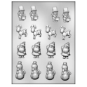 CK - Plastic mold for chocolate Christmas Assortment, 16 cavities