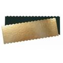 Kuchenplatte rechteckig golden, wellenförmige Rand, 34 x 12 cm, zirka 1mm dick