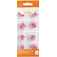 Decora Décoration en sucre petites roses roses, 20 mm, 8 pièces