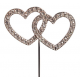 """Diamante"" double heart pic, 45 mm"