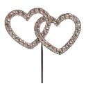 Coeurs enlacés avec brillants, 45 mm de haut