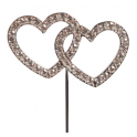 """Diamante"" double heart pic, 45 mm"