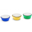 Candy Cups blue, green and yellow foil, 75 pieces